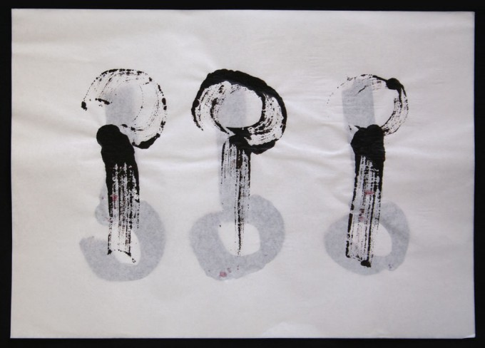 día 02- 2010 - acrílico sobre papel - 30 x 42 cm.