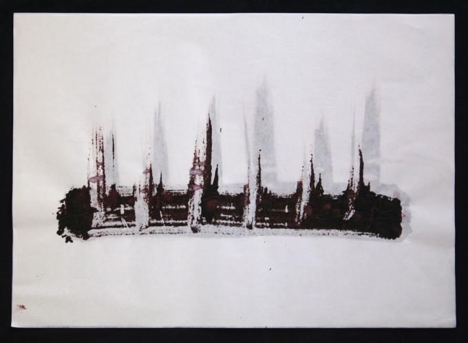 día 11 - 2010 - acrílico sobre papel - 30 x 42 cm.