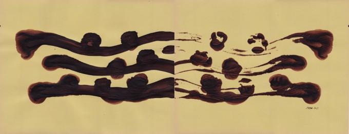 Espejo 1 - 2011 - acrílico sobre papel - 25 x 65 cm.