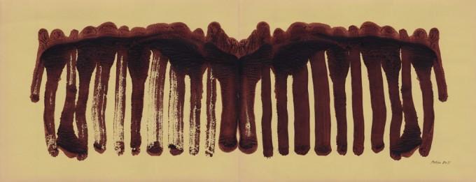 Espejo 5 - 2011 - acrílico sobre papel - 25 x 65 cm.