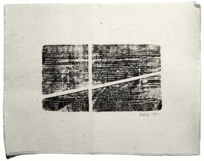 Cruz - 2014 - impresión de caucho sobre tela - 18 x 24 cm